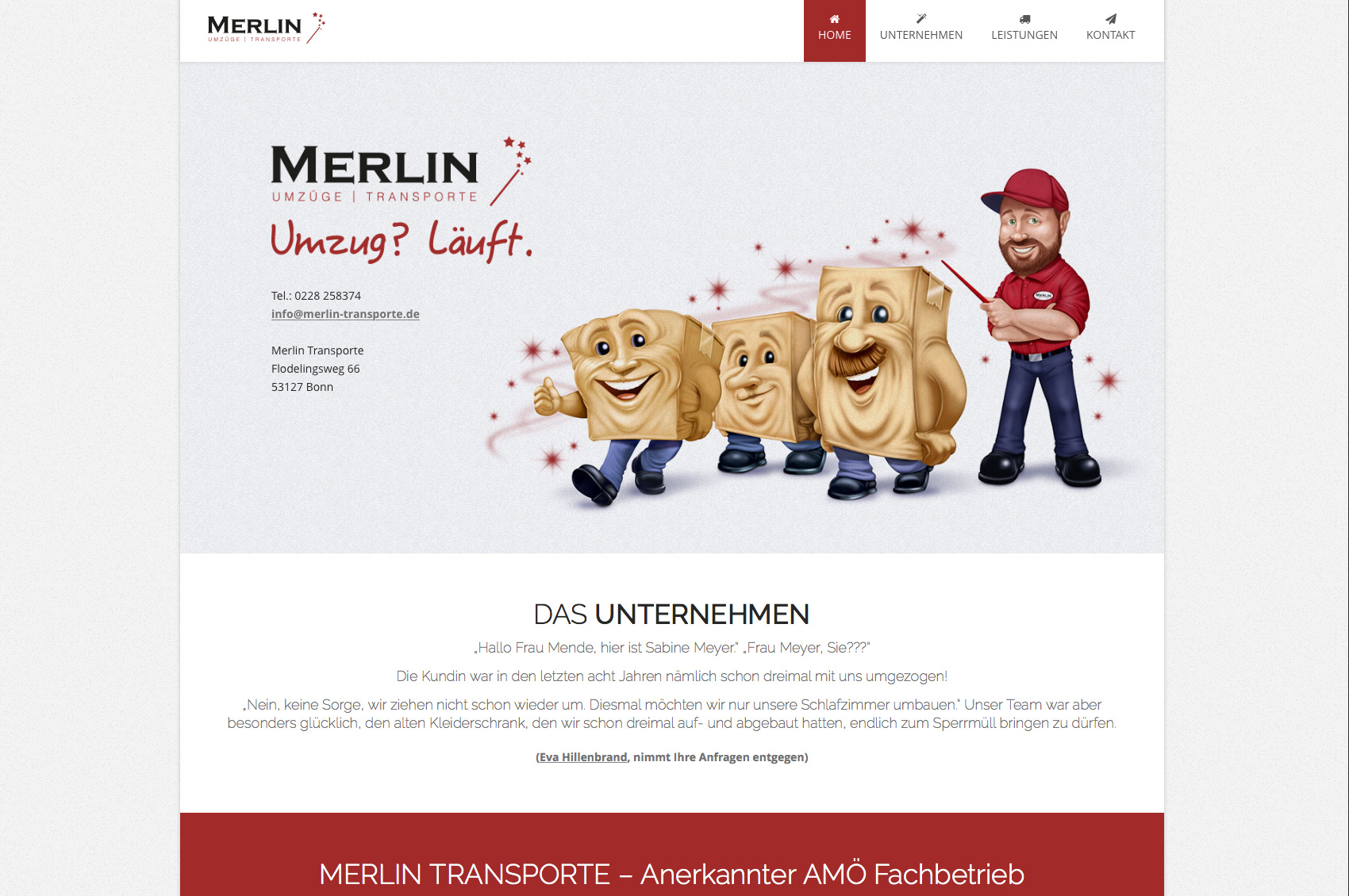 Website Merlin Transporte Bonn