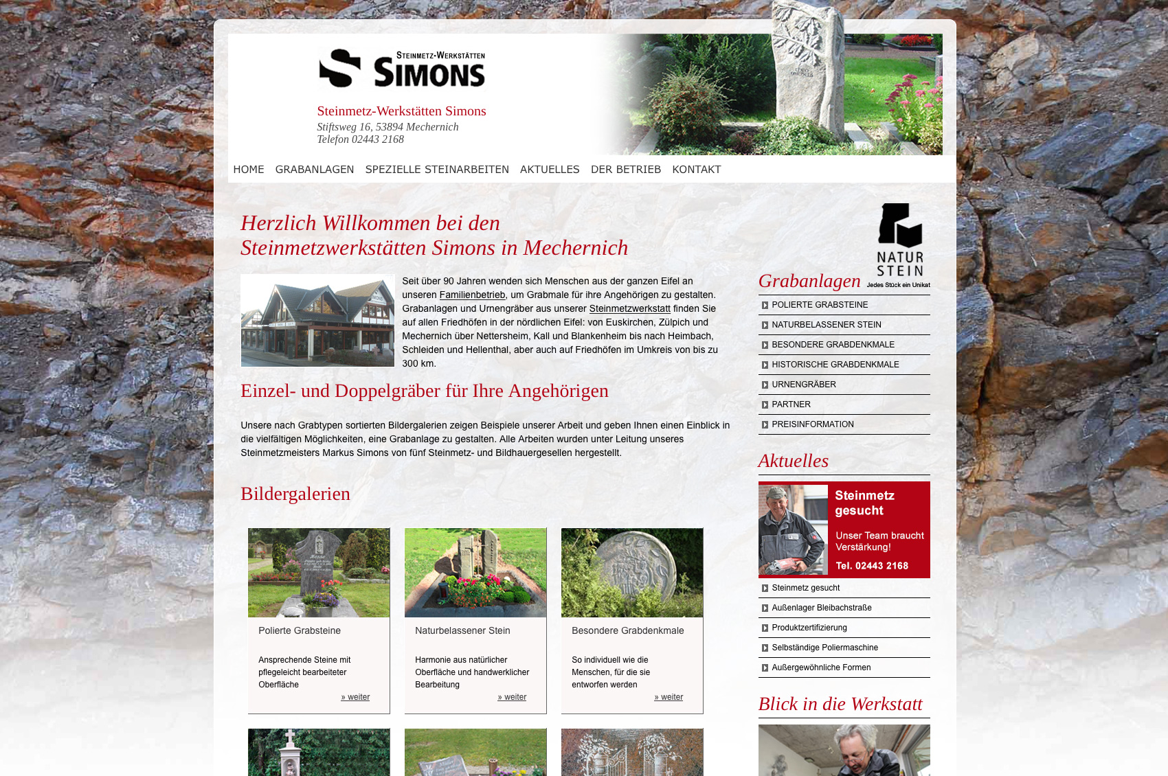 Website Steinmetz Simons, Euskirchen